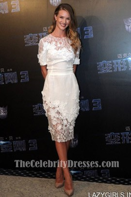 Rosie Huntington-Whiteley White Dress'Transformers 3′ Press Conference Shanghai