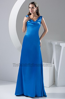 Royal Blue A-Line Full Length Evening Dress Prom Gown
