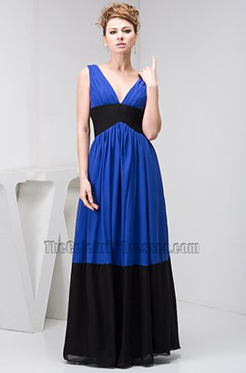 Royal Blue And Black V-Neck Prom Gown Evening Dresses