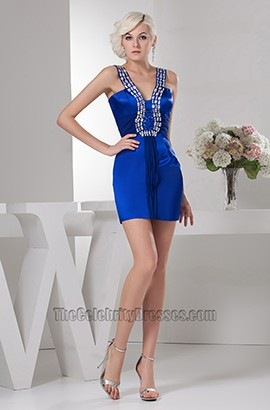 Royal Blue Beaded Short Mini Party Homecoming Dresses