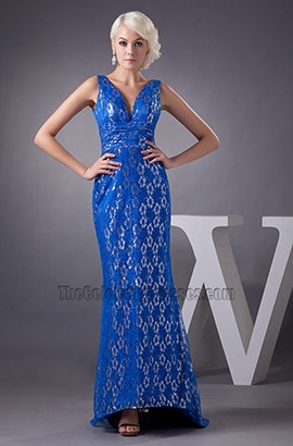 Elegant Royal Blue Lace Formal Gown Evening Prom Dresses
