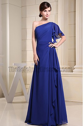 Discount Royal Blue One Shoulder Prom Dress Evening Dresses