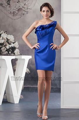 Royal Blue Short Mini One Shoulder Party Homecoming Dresses