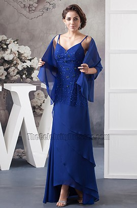 Royal Blue Spaghetti Straps Chiffon Evening Dresses With A Wrap