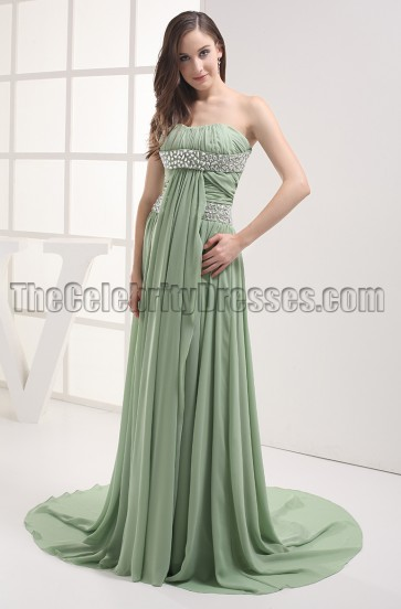 Sage Beaded Strapless Prom Gown Evening Dresses