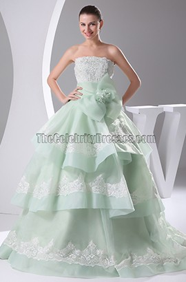 Sage Strapless Organza Chapel Train Embroidery Wedding Dresses