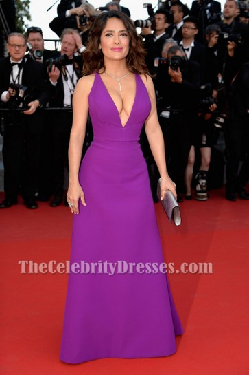 Salma Hayek Deep V-Neck Formal Dress Premiere of 'Rocco And His Brothers' TCD6489