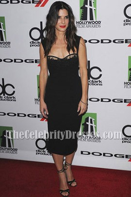 Sandra Bullock Dark Navy Cocktail Dress 17th Annual Hollywood Film Awards
