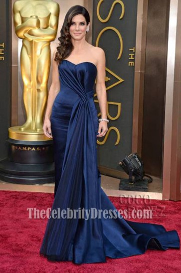 Sandra Bullock Navy Strapless Formal Dress 2014 Oscar Red Carpet
