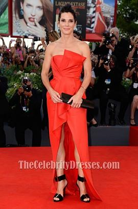 Sandra Bullock Red Formal Dress 'Gravity' Venice Film Festival Premiere Red Carpet