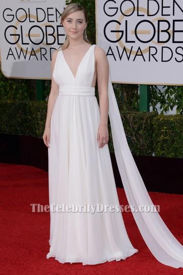Saoirse Ronan Ivory Evening Dress golden globes 2016 Red Carpet Gown TCD6504