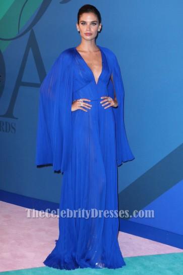 Sara Sampaio Royal Blue Deep V-Neck Evening Dress 2017 CFDA Fashion Awards TCD7269