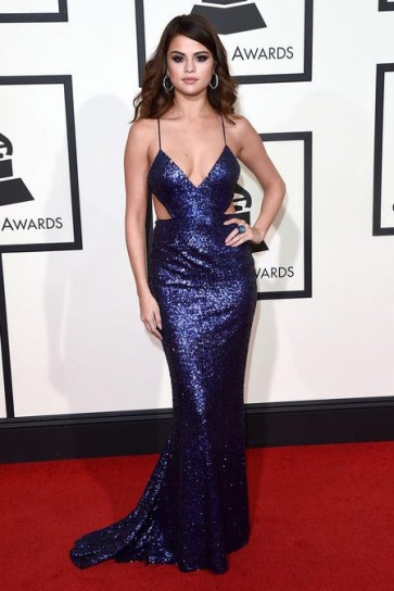 Selena Gomez Grammy 2016 Backless Evening Dress Red Carpet Celebrity Dresses TCD6541