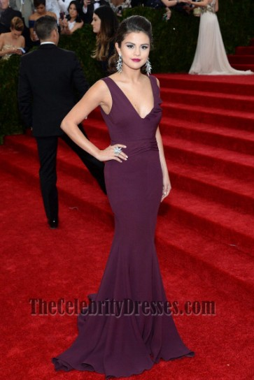 Selena Gomez Grape Prom Dress MET Gala 2014 Red Carpet