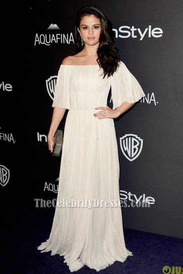 Selena Gomez Off-the-shoulder Evening Dress 2016 Golden Globes After party TCD6498