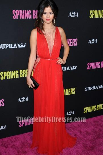 Selena Gomez Red Beaded Prom Evening Dress 'Spring Breakers' LA Premiere