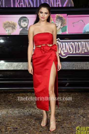 Selena Gomez Red Two Pieces Evening Dress'Hotel Transylvania 2′ Cancun Photocall TCD6152