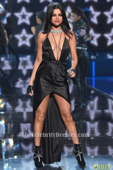 Selena Gomez Sexy Black Dress 2015 Victoria's Secret Fashion Show TCD6411