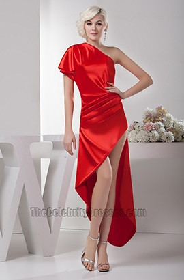 Sexy Asymmetric Red One Shoulder Prom Gown Evening Party Dresses