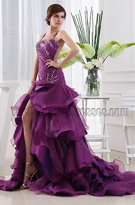 Sexy Backless Purple Prom Dress Evening Formal Gown