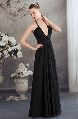 Sexy Black Deep V-Neck Chiffon Evening Gown Prom Dress