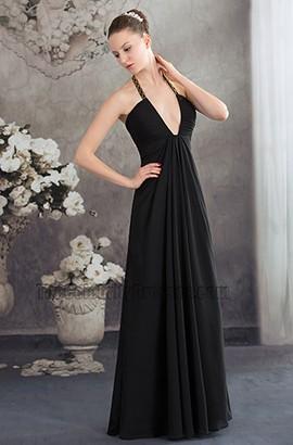 Sexy Black Deep V-Neck Chiffon Evening Gown Prom Dress