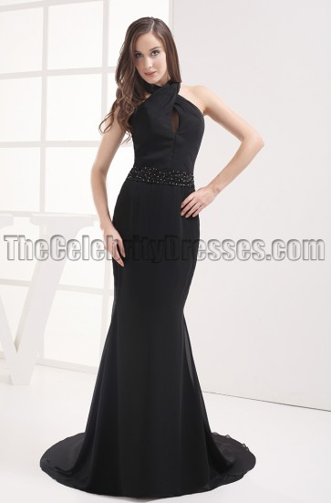 Sexy Black Halter Beaded Evening Dress Prom Gown
