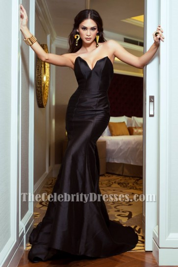 Sexy Black Strapless Mermaid Evening Gown Celebrity Inspired Dresses TCD7093