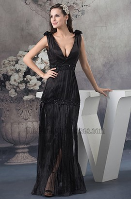 Sexy Black Deep V-Neck Evening Dress Prom Gown