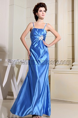 Simple Blue Spaghetti Straps Evening Dress Prom Gown