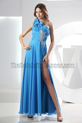 Sexy Blue One Shoulder Backless Evening Gown Prom Dress