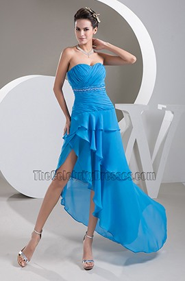 Sexy Blue Strapless Asymmetric Chiffon Prom Gown Evening Dress