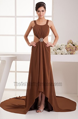 Sexy Cut Out Brown Backless Evening Dress Prom Gown