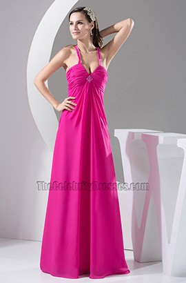 Sexy Fuchsia Long Chiffon Evening Dress Prom Gown