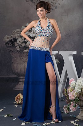 Sexy Halter See Through Royal Blue Evening Dress Prom Gown