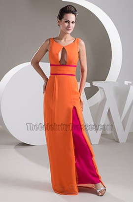Sexy Orange Chiffon Prom Gown Evening Dress