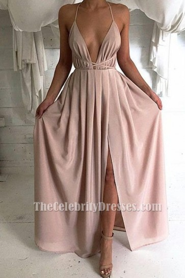 Sexy Plunging V-neck Evening Dress Backless Prom Gown TCD6660