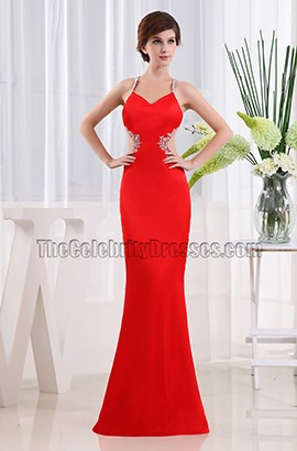 Sexy Red Long Backless Prom Dress Evening Gowns