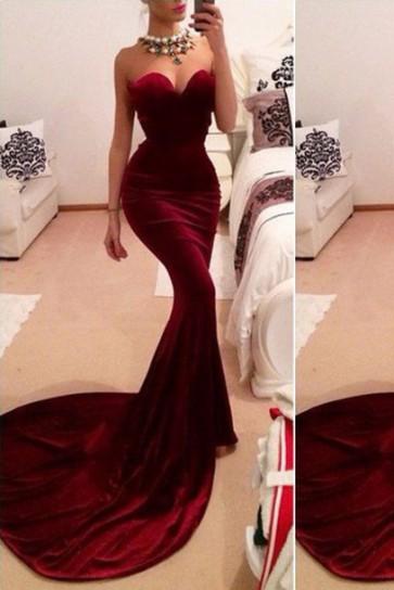 Sexy Red Mermaid Velvet Strapless Evening Dress TCD6027