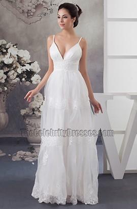 Sexy Spaghetti A-Line Floor Length Wedding Dresses