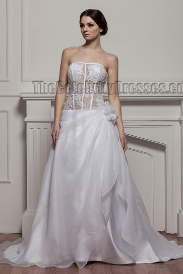 Sexy Strapless A-Line Chapel Train Wedding Dress