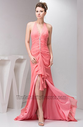 Sexy Watermelon Halter Backless Evening Dress Prom Gown