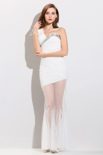 Sexy White One Shoulder See Through Prom Gown Evening Dress TCDMM001