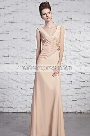 Sheath/Column V-Neck Beaded Prom Gown Evening Dresses