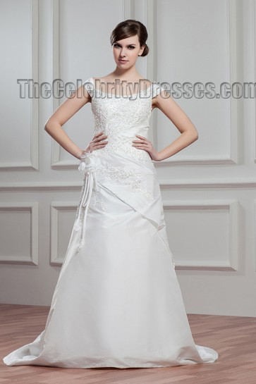 Sheath/Column Beaded Off The Shoulder Sweep/Brush Train Wedding Dress