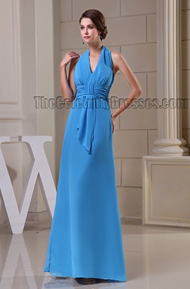 Sheath/Column Blue Halter Prom Gown Evening Formal Dresses
