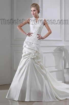 Sheath/Column Chapel Train Lace Taffeta Wedding Dress