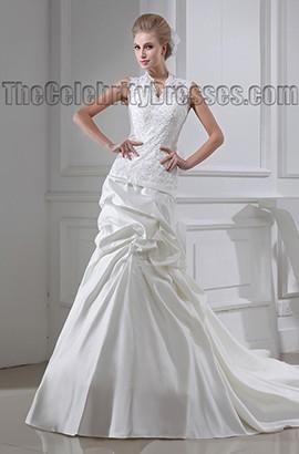 Sheath/Column Chapel Train Lace Taffeta Wedding Dress
