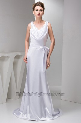 Chic Sheath/Column Drop Neckline Wedding Dress Bridal Gown
