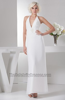 Sheath/Column Floor Length Halter Informal Wedding Dresses